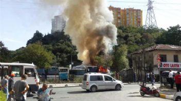 Sarıyer'de otopark yangını