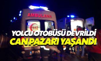 Diyarbakır'da yolcu otobüsü devrildi çok sayıda yaralı var