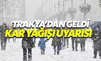 Trakya'dan giren kar yağışı Marmara'da etkili olacak
