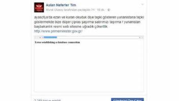 Aslan Neferler Tim'den Yunanistan Başbakanlık sitesine ani baskın